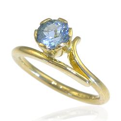 Aquamarine Accent Ring in 18ct Gold