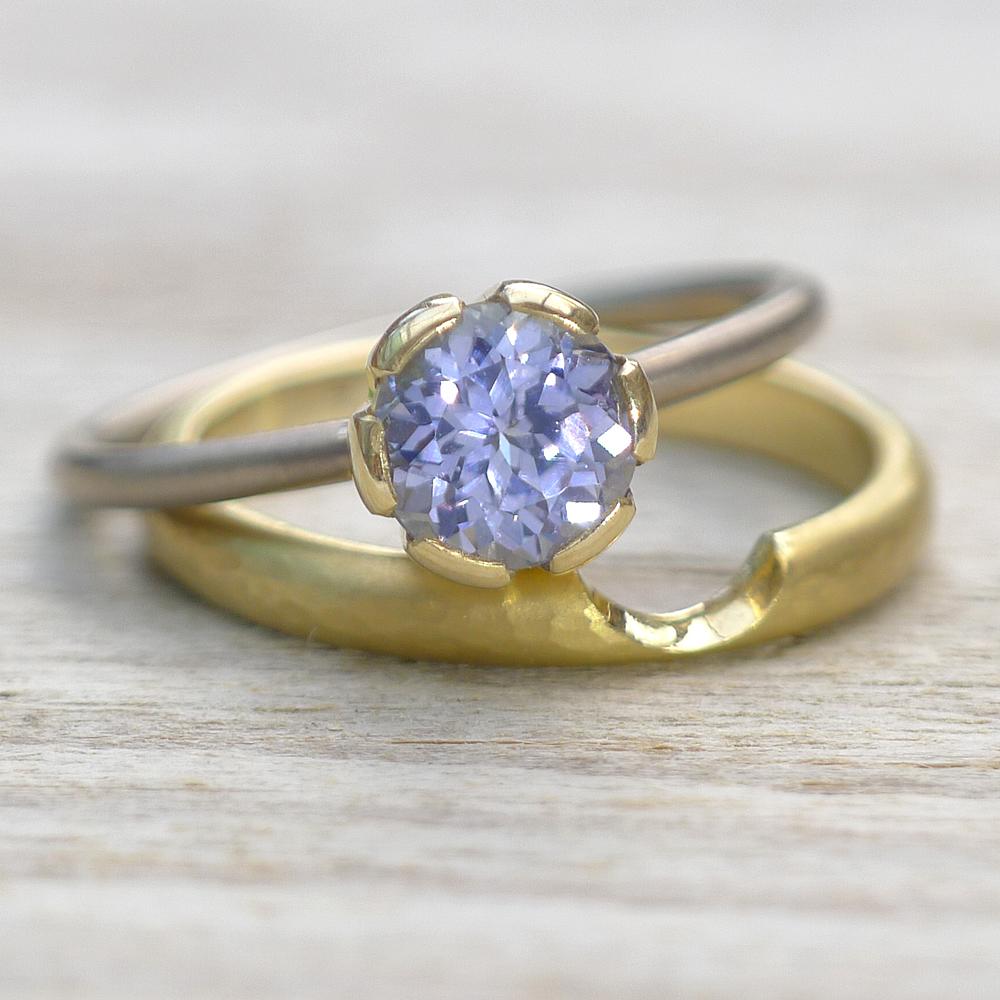 Lavender Sapphire Engagement Ring Set