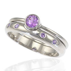 Purple Sapphire Engagement Ring Set in 18ct White Gold