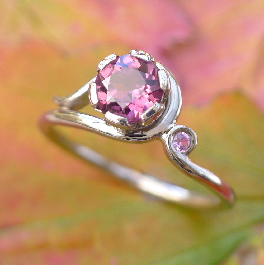 Pink tourmaline and sapphire Art Nouveau style ring in 18ct gold