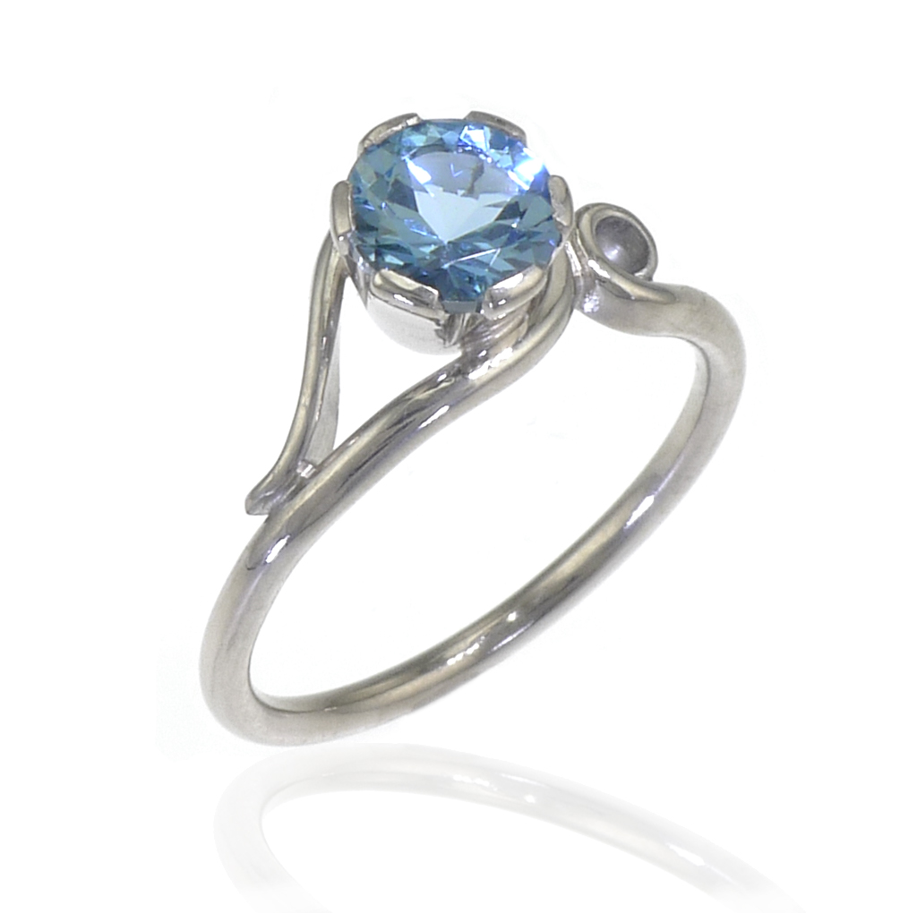 Aquamarine Ring in Art Nouveau Style