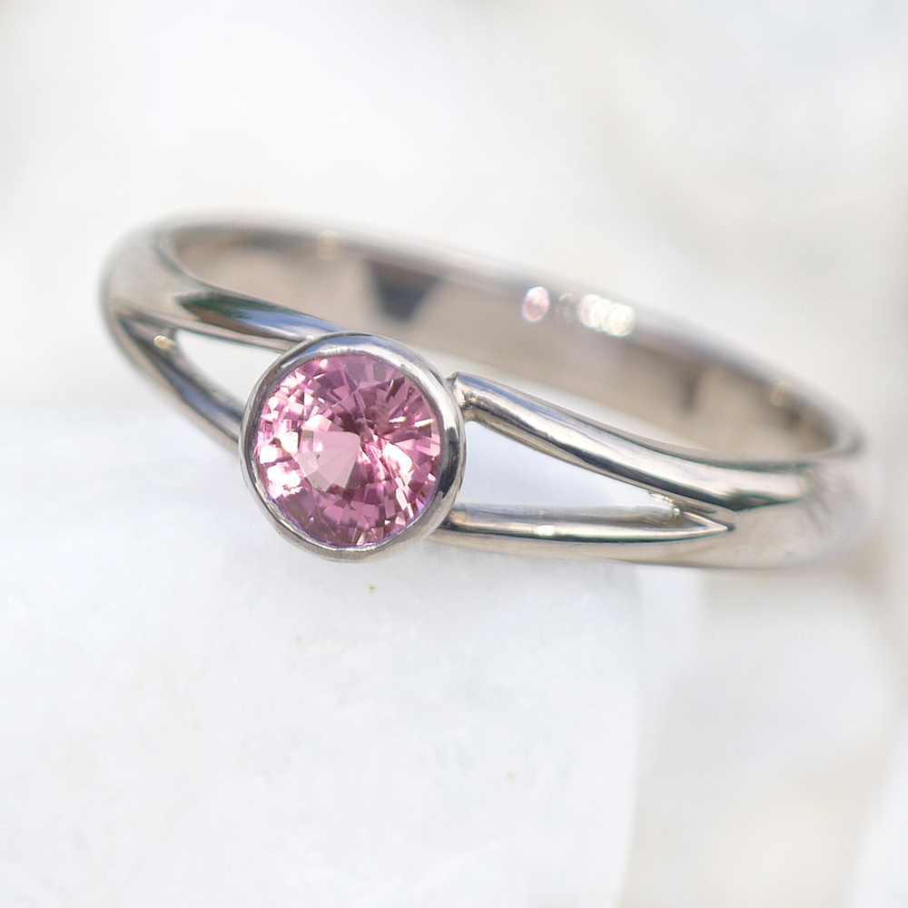 Pink Sapphire Split-shank Ring in 18ct Gold or Platinum-2535