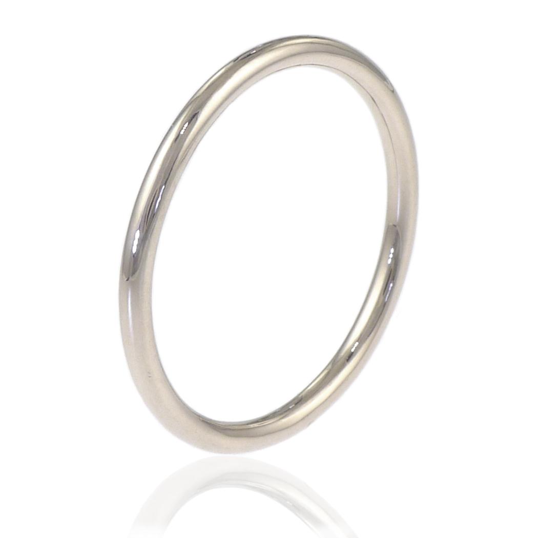 Slim Halo Wedding Ring in 18ct White Gold