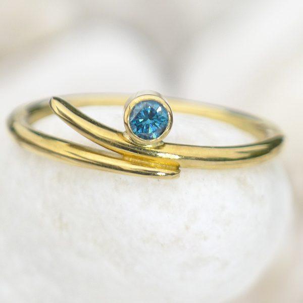 Blue Diamond Wave Ring - Size I