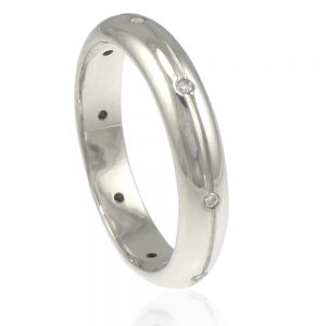 Diamond Eternity/Wedding Ring in Sterling Silver - Size Q-237