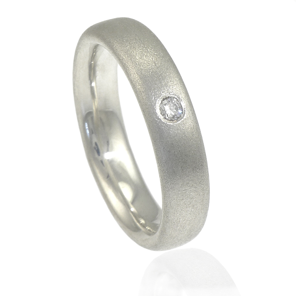 Frosted Silver Diamond Ring
