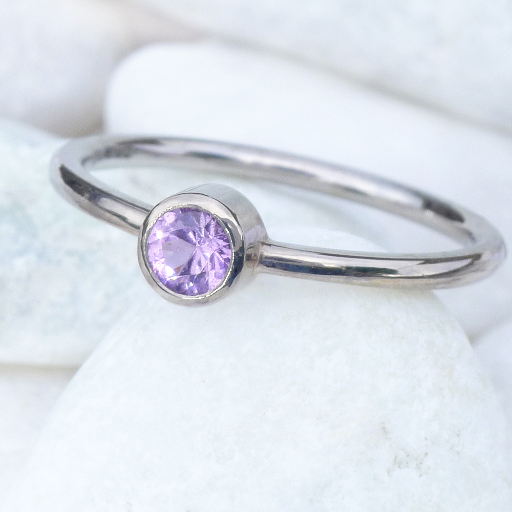 Lilac Pink Sapphire Solitaire Ring - Size K