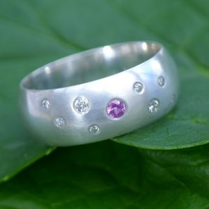 Pink Sapphire and Diamond Silver Ring