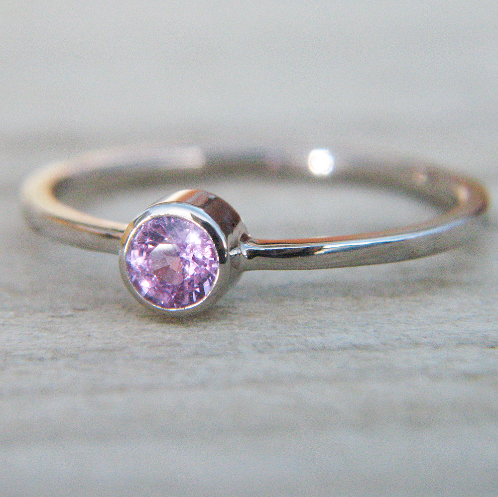 Pink Sapphire Solitaire Ring - Size M