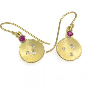 Ruby and Diamond Earrings in 18ct Gold