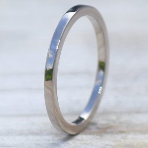 1.5mm Square Profile Wedding Ring in 18ct Gold or Platinum-393
