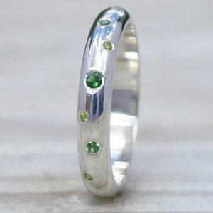 Green Diamond and Tsavorite Ring