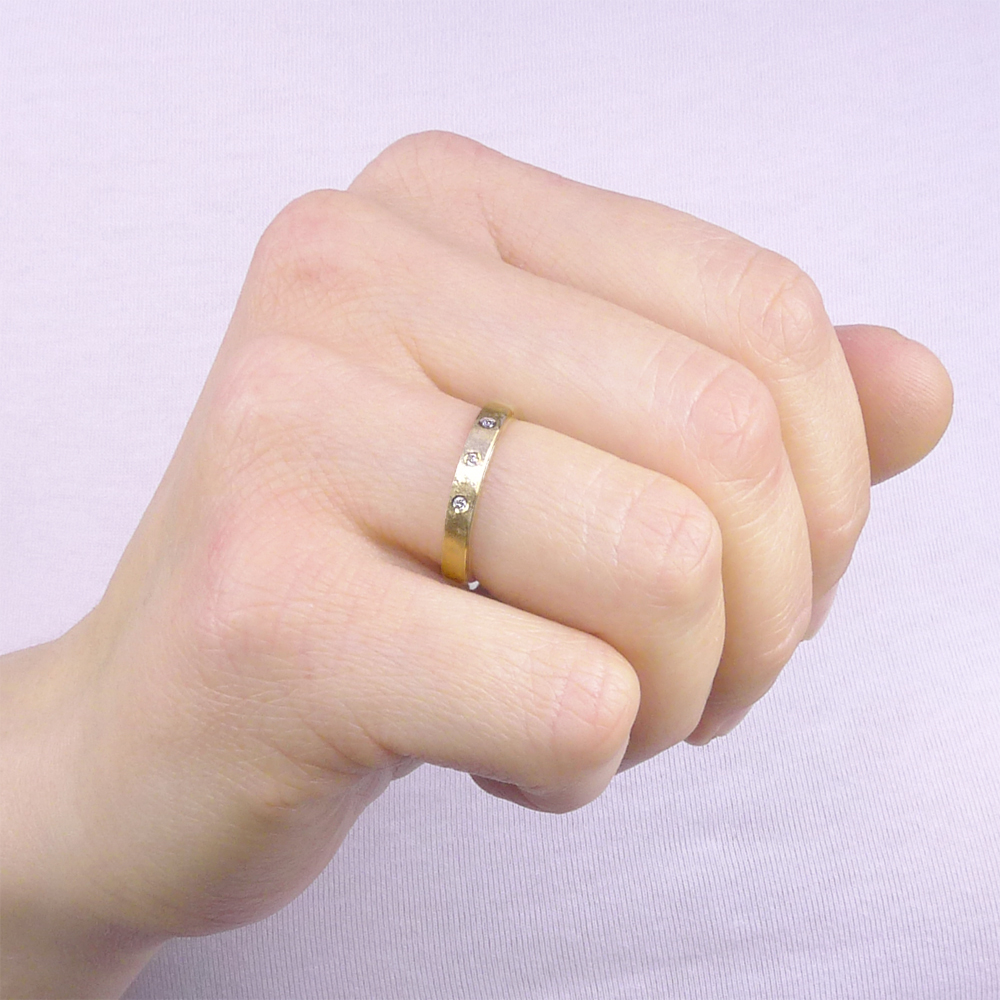 Urban Triple Diamond Wedding Ring - Size T | Lilia Nash