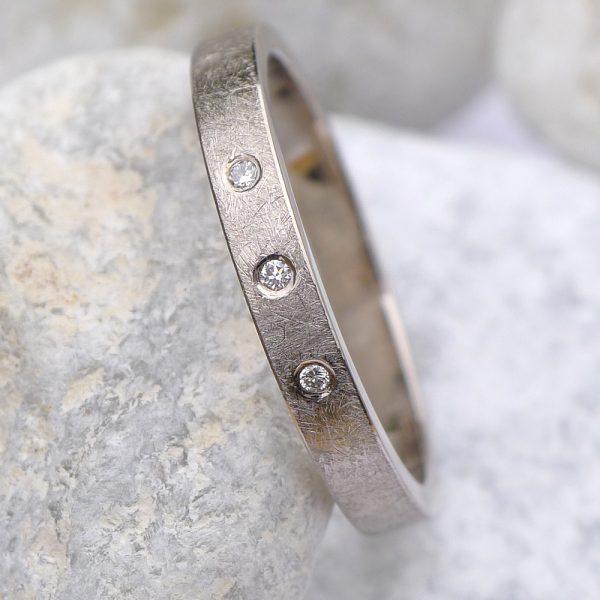 Urban Triple Diamond Wedding Ring - Size T-1022
