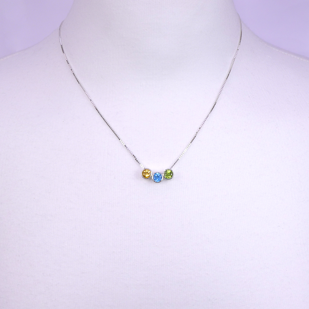 Birthstone Necklace on the Neck