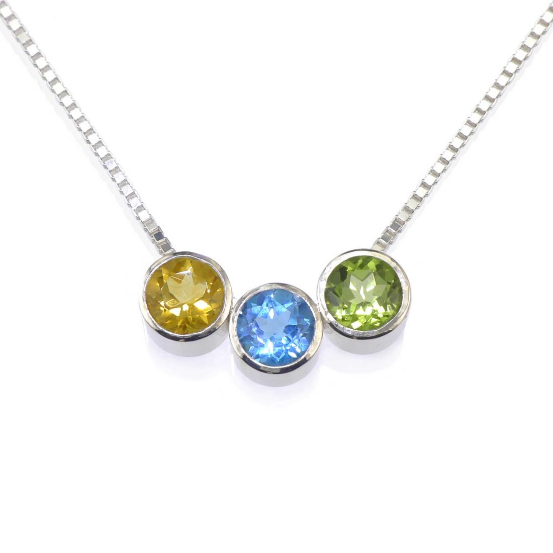 Birthstone Necklace with Citrine, Blue Topaz and Peridot Birthstones