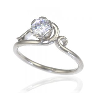 Diamond or Moissanite Art Nouveau Style Ring in 18ct Gold-340