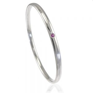 Sterling Silver Bangle with Diamond, Ruby or Sapphire Accent-271