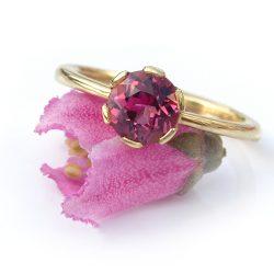 pink tourmaline flower ring