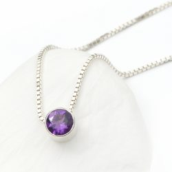 february birthstone necklace, amethyst