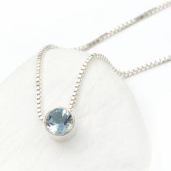 march birthstone necklace, aquamarine