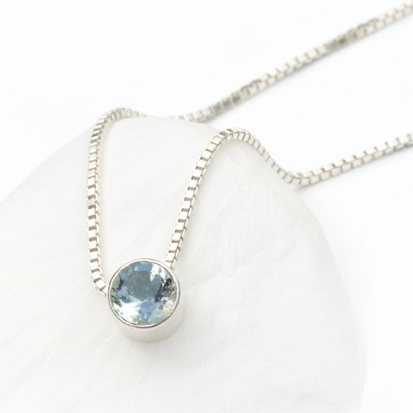 march birthstone necklace, aquamarine
