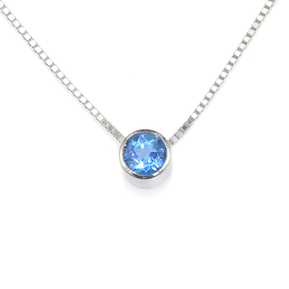 Blue Topaz Birthstone Necklace (December)