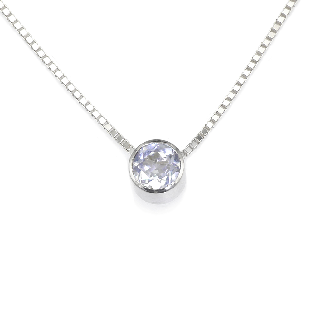 White Topaz Birthstone Necklace (April)