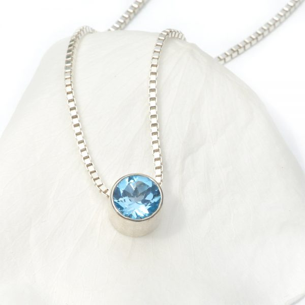 december birthstone necklace, blue topaz