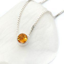 November birthstone necklace, citrine