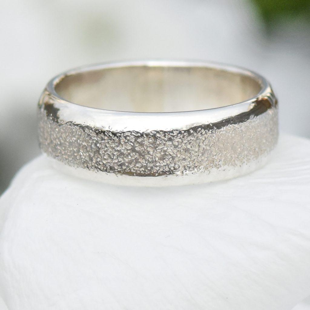 concrete texture silver ring