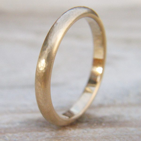 3mm Hammered Gold Wedding Ring