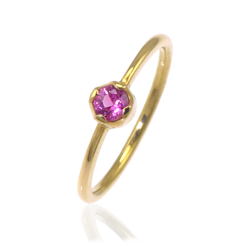 Pink Sapphire Bud Engagement Ring