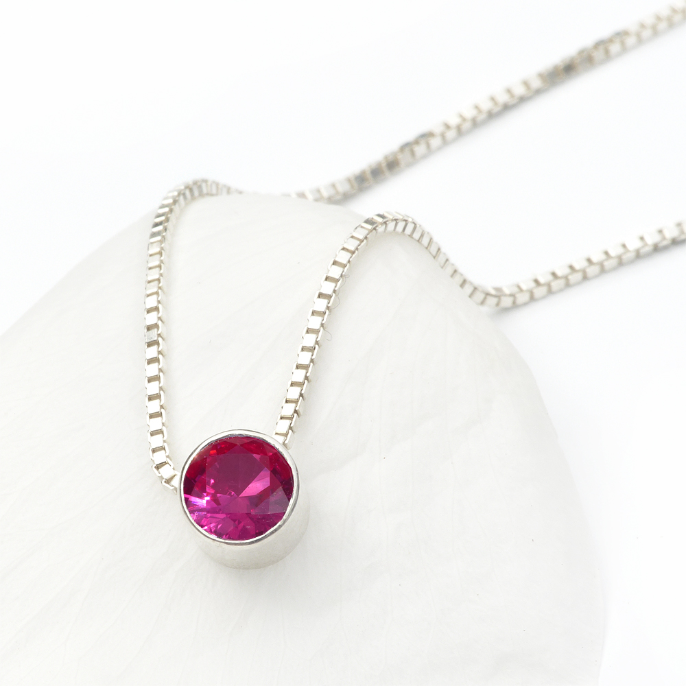 july birthstone necklace, ruby
