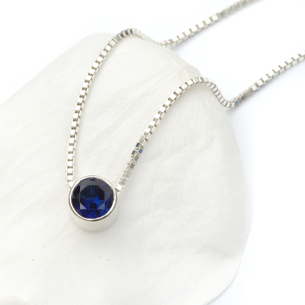 september birthstone necklace, sapphire