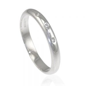 Triple Diamond Sterling Silver Ring