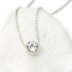 april birthstone necklace, white topaz