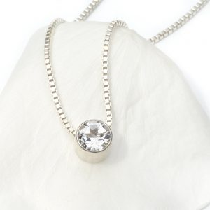 april birthstone necklace, white topaz