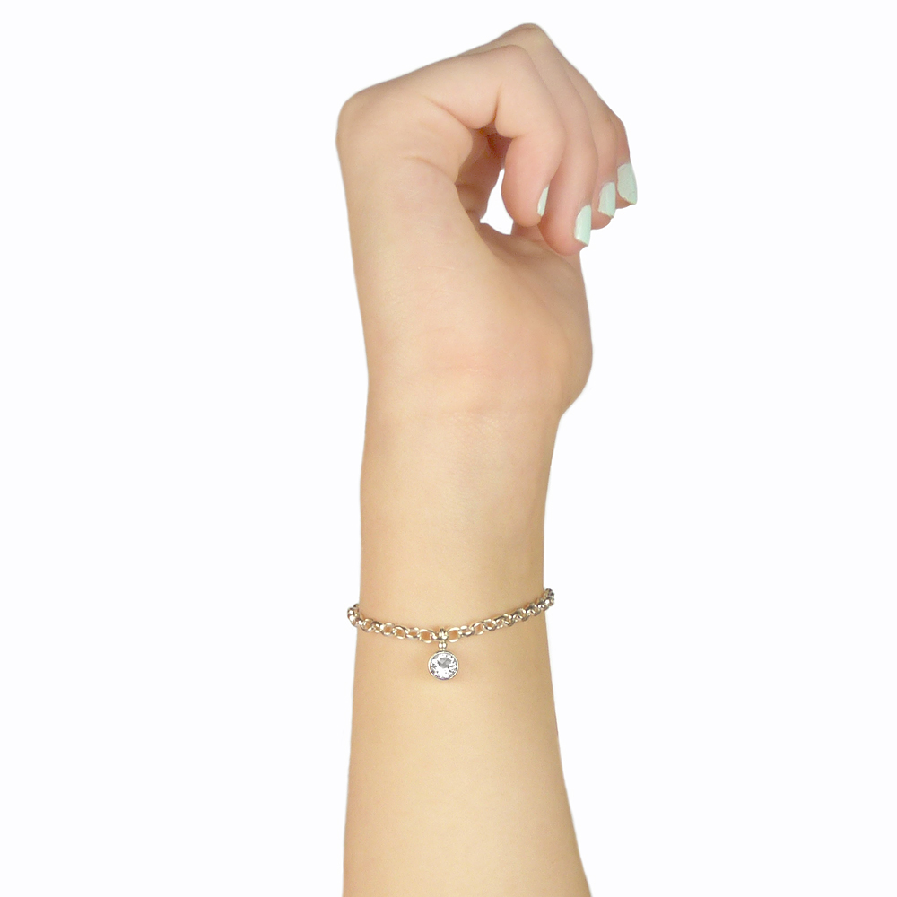 white topaz bracelet on the wrist
