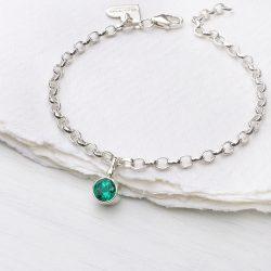 emerald birthstone bracelet