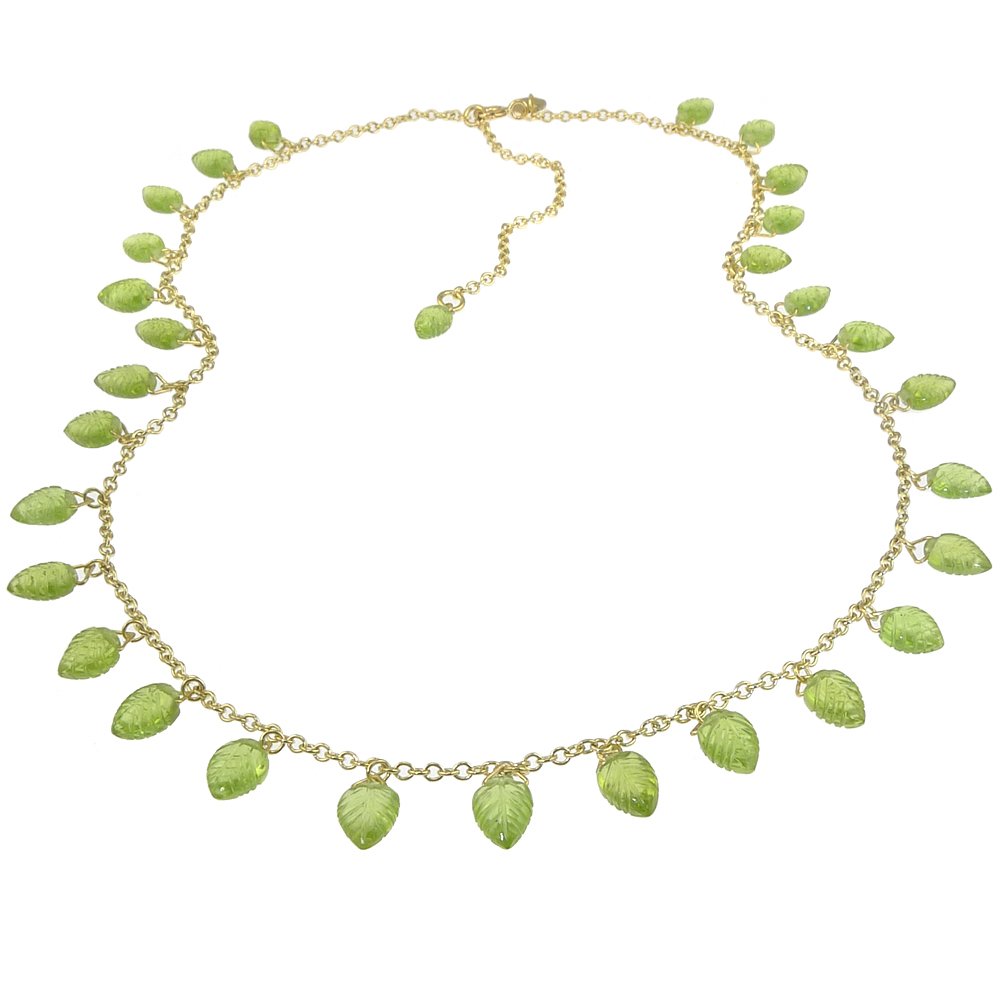 Peridot Leaf Necklace in 18ct Gold