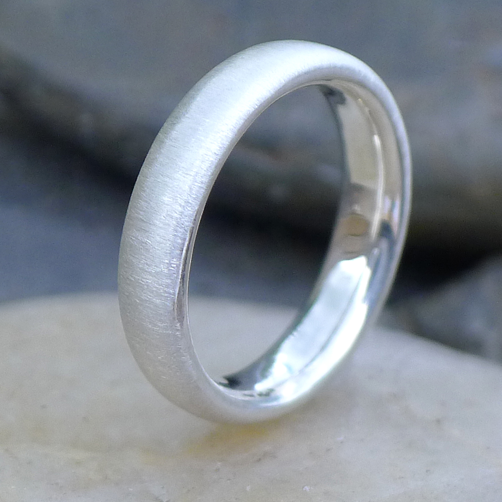 Spun Silk Finish Comfort Fit Silver Ring-633