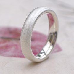 Spun Silk Finish Comfort Fit Silver Ring-632