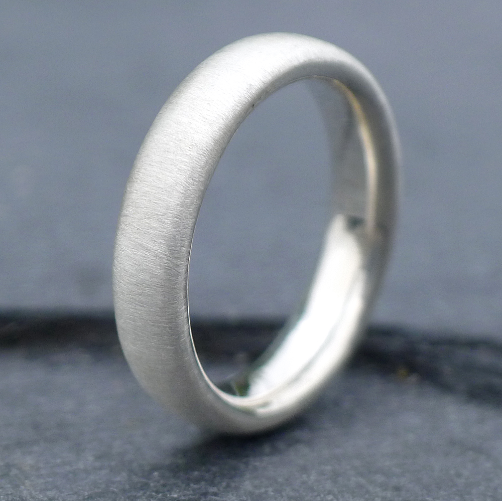 Spun Silk Finish Comfort Fit Silver Ring-631