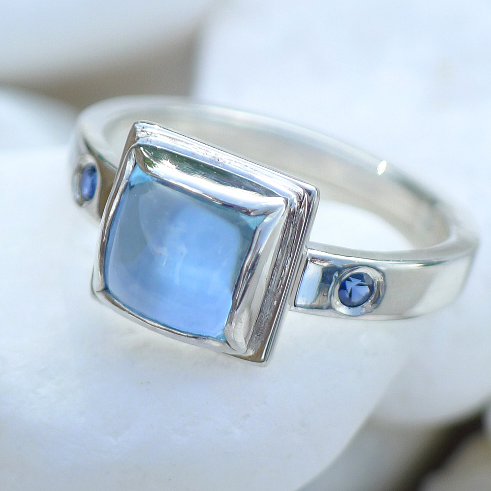 Blue Topaz Ring in Silver