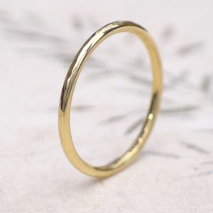 Thin Hammered Wedding Ring