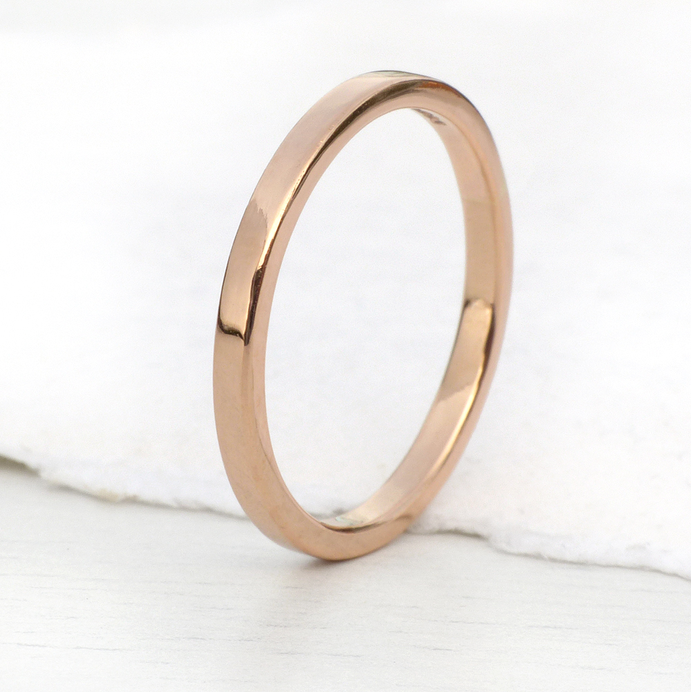 2mm flat wedding ring in 18ct rose gold