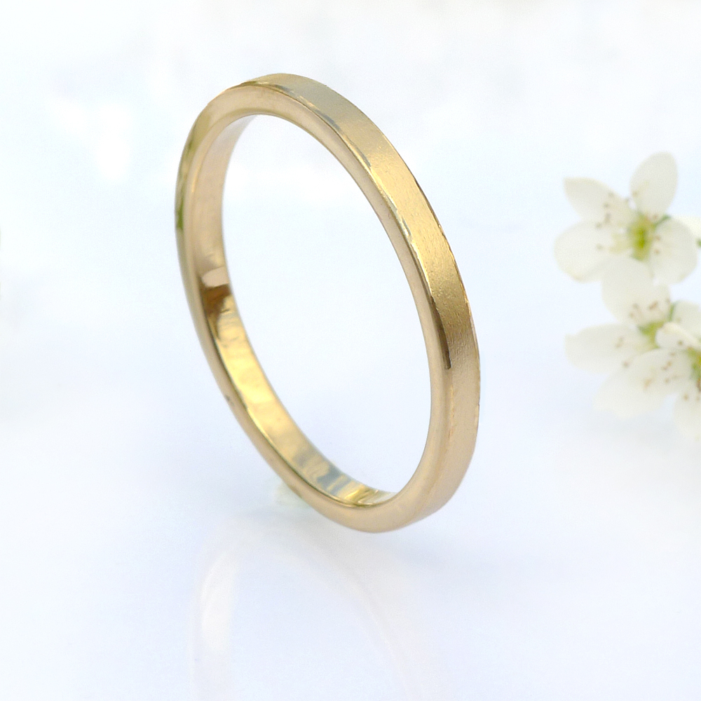 2mm slim flat wedding ring in 18ct gold or platinum