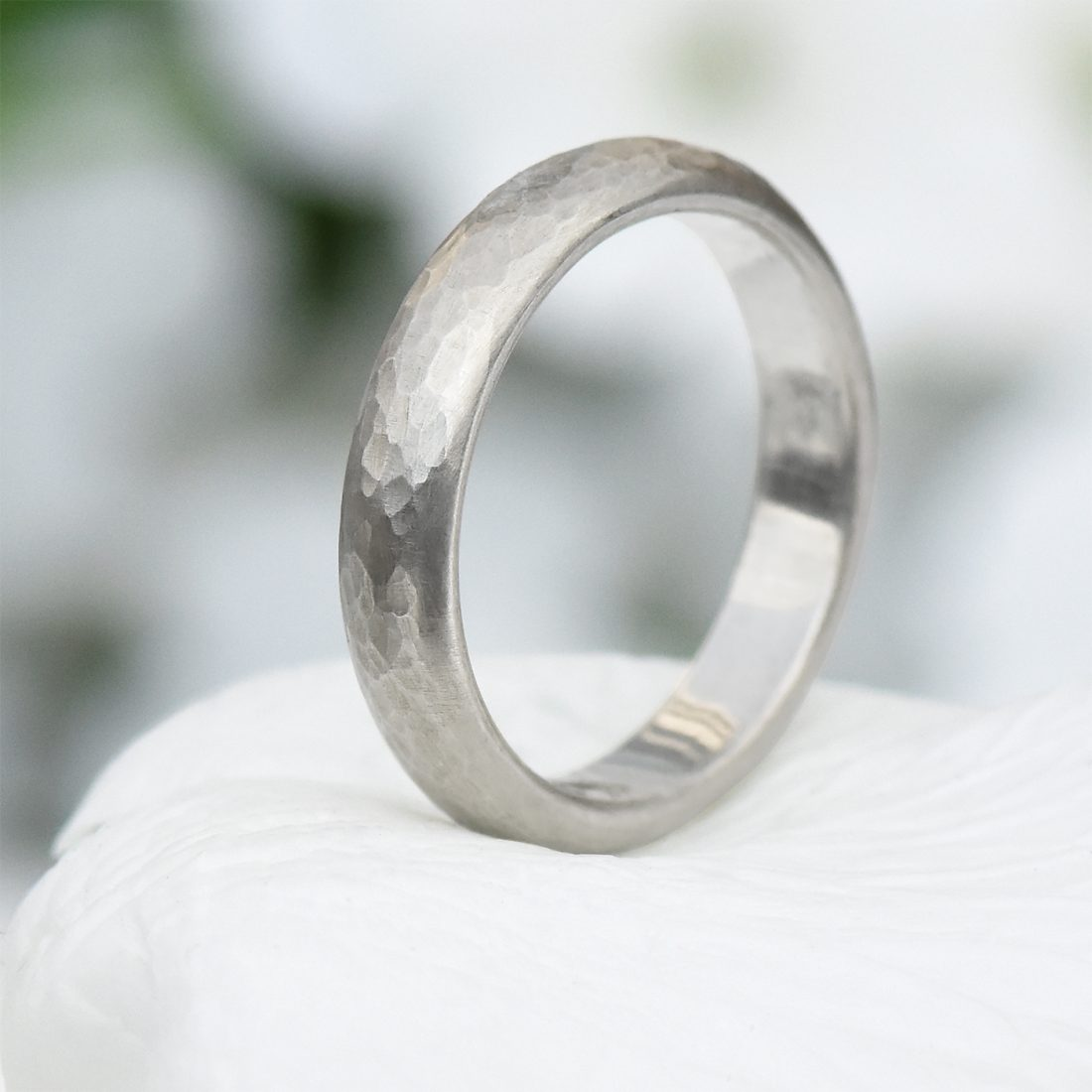 4mm hammered silver ring