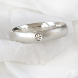 Diamond Ring in Frosted Silver